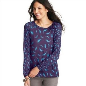 LOFT Sheer purple with blue feather print blouse